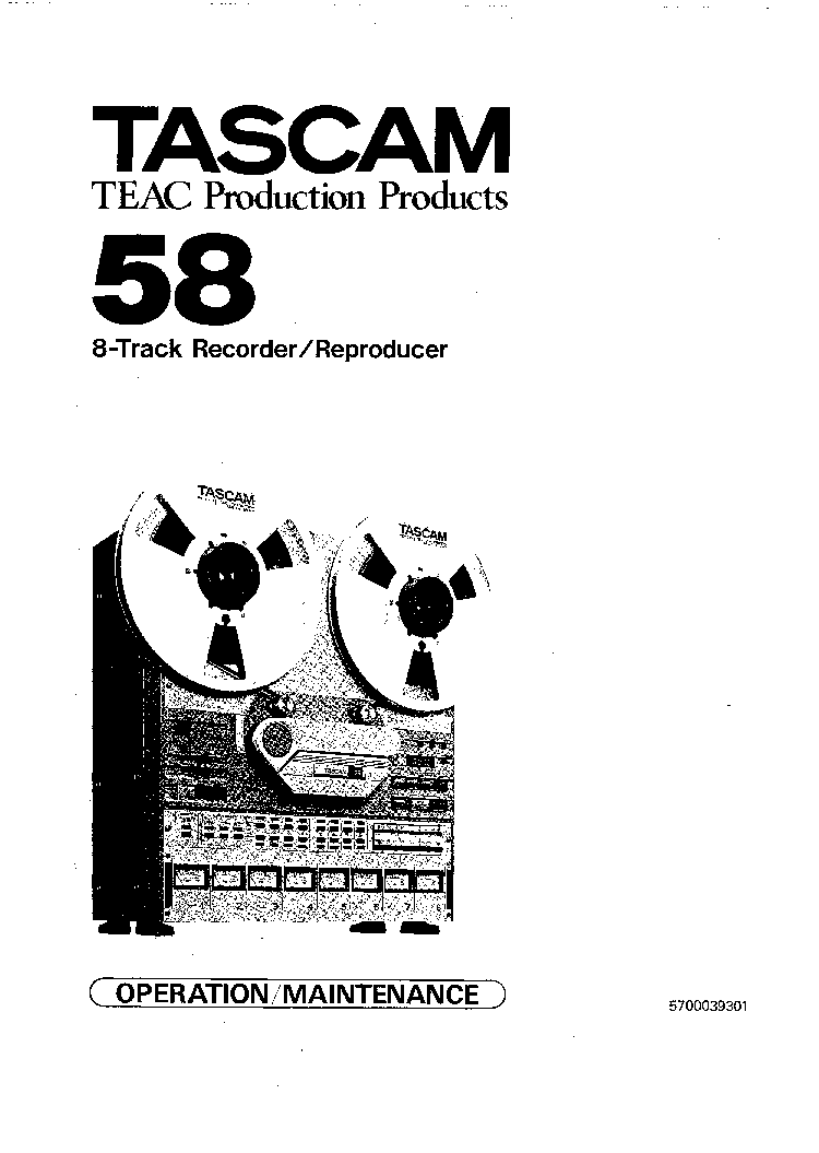 TASCAM 58 SM Service Manual download, schematics, eeprom