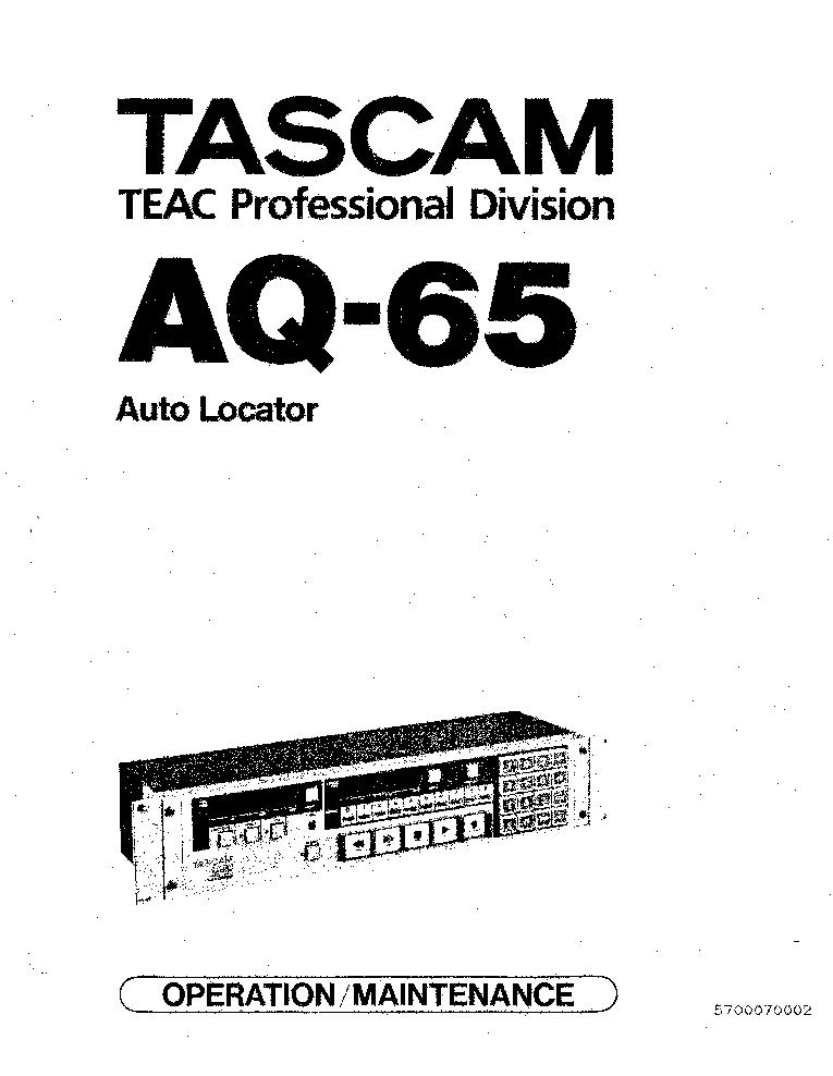 TASCAM AQ-65 AUTO-LOCATOR SM Service Manual download