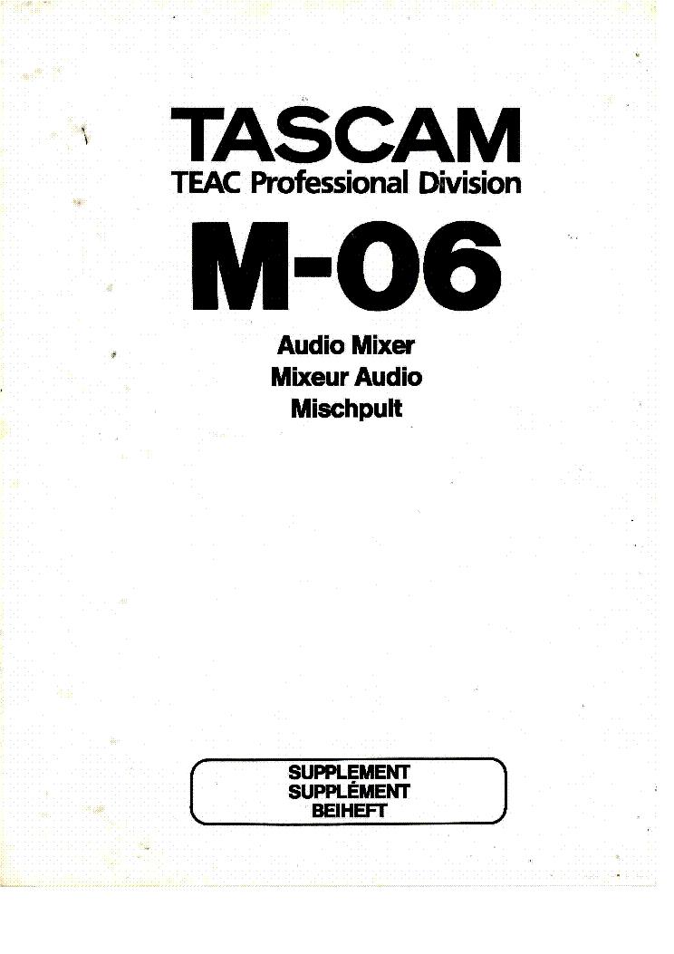 TASCAM M-06 SUPPLEMENT Service Manual download, schematics