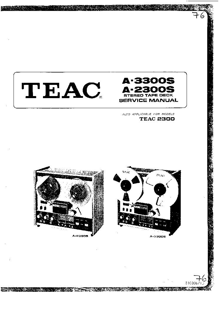 TEAC A-2300S 3300S SM Service Manual download, schematics