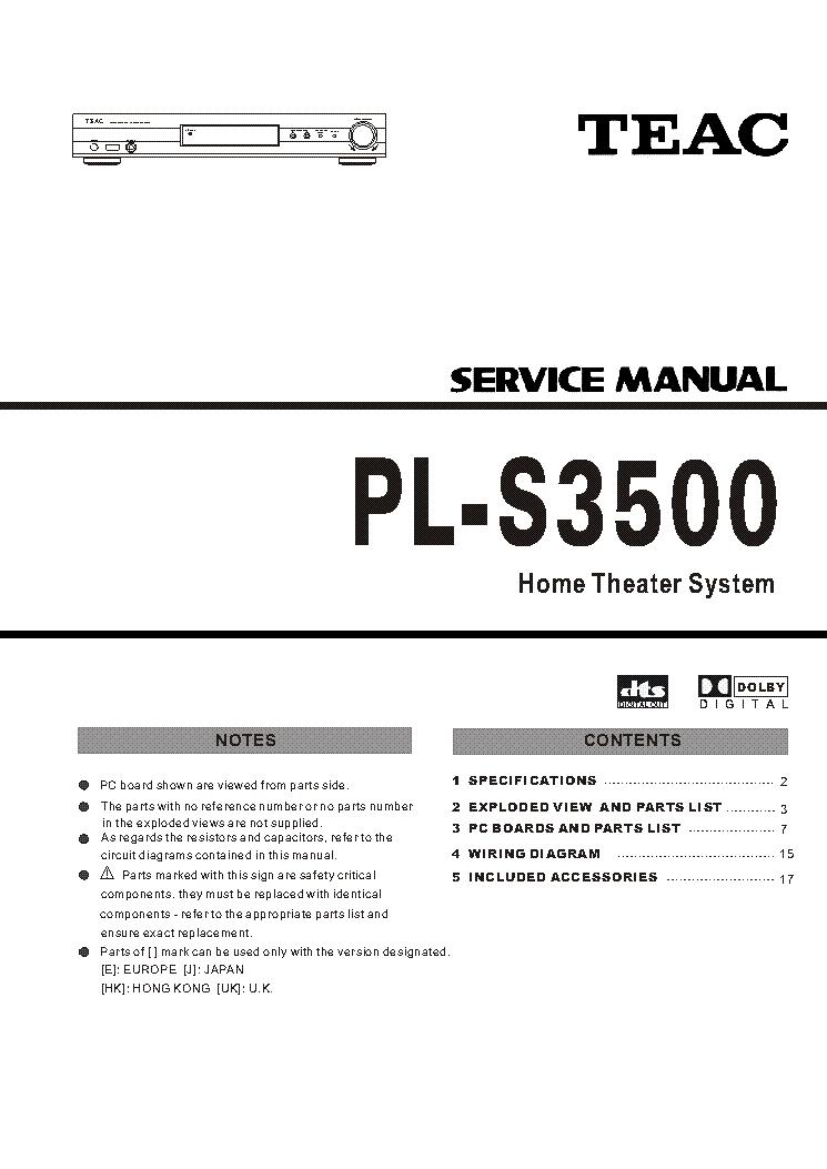 TEAC PL-S3500 SM Service Manual download, schematics