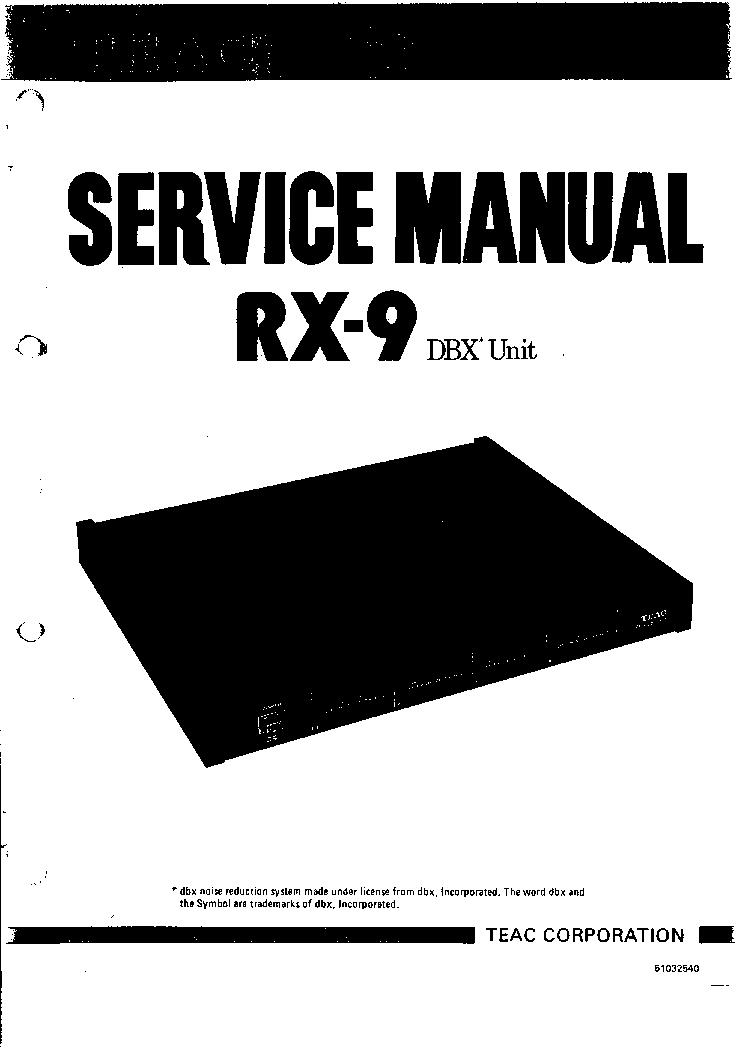 TEAC RX-9-DBX SM Service Manual download, schematics