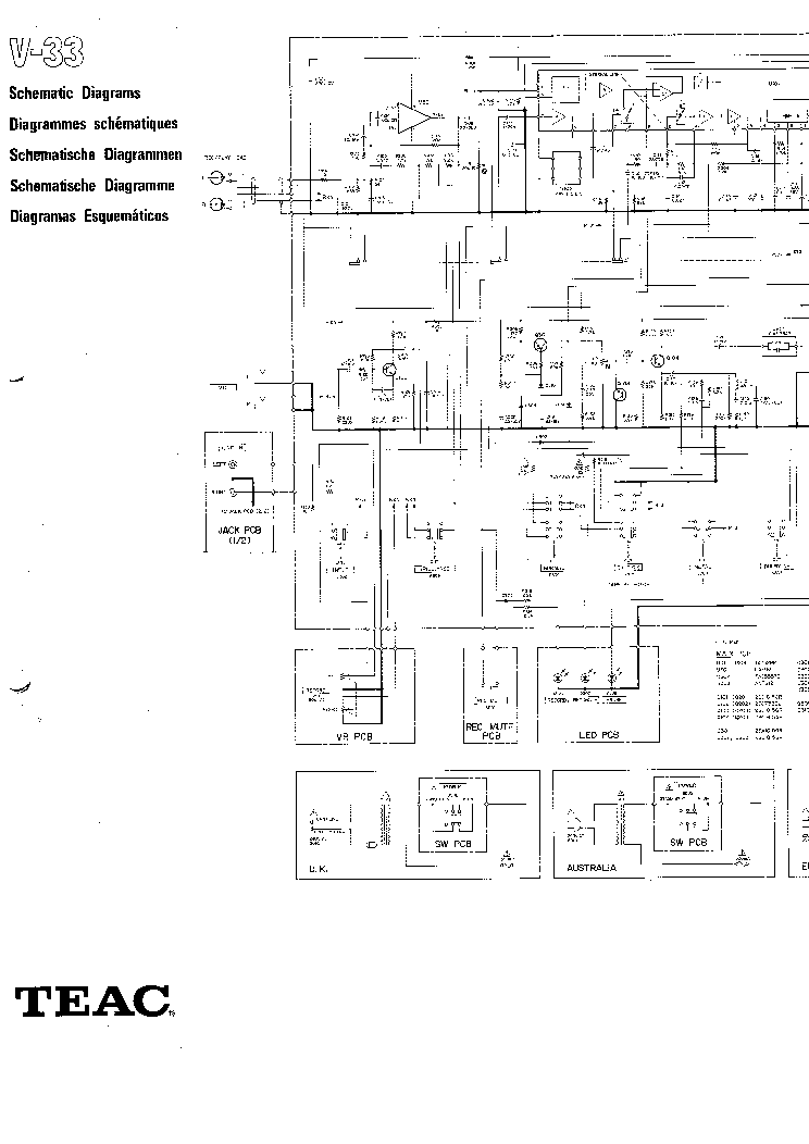 TEAC V-33 Service Manual download, schematics, eeprom