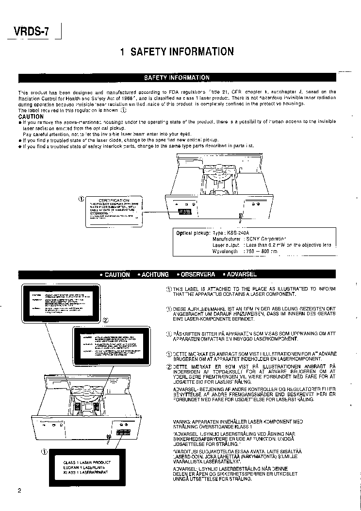 TEAC VRDS-7 Service Manual download, schematics, eeprom