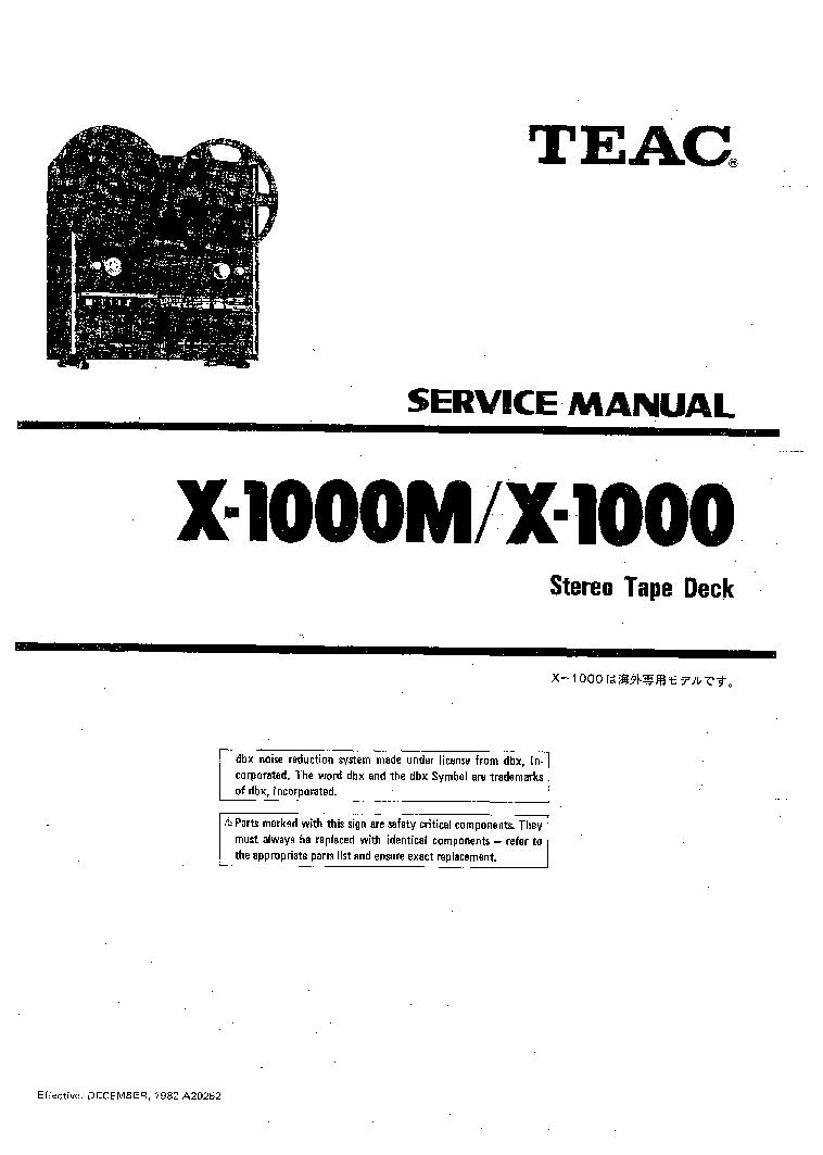 TEAC X1000 X1000M Service Manual download, schematics