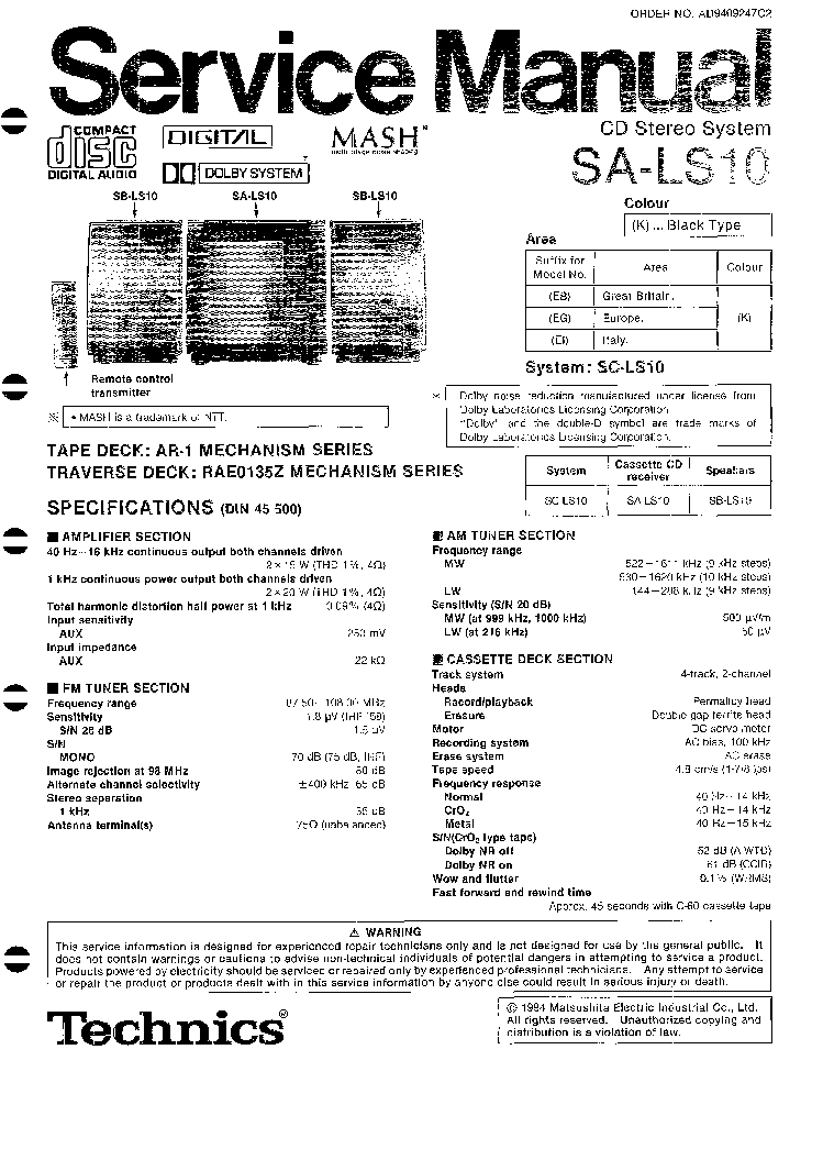TECHNICS SA-DA20 Service Manual download, schematics