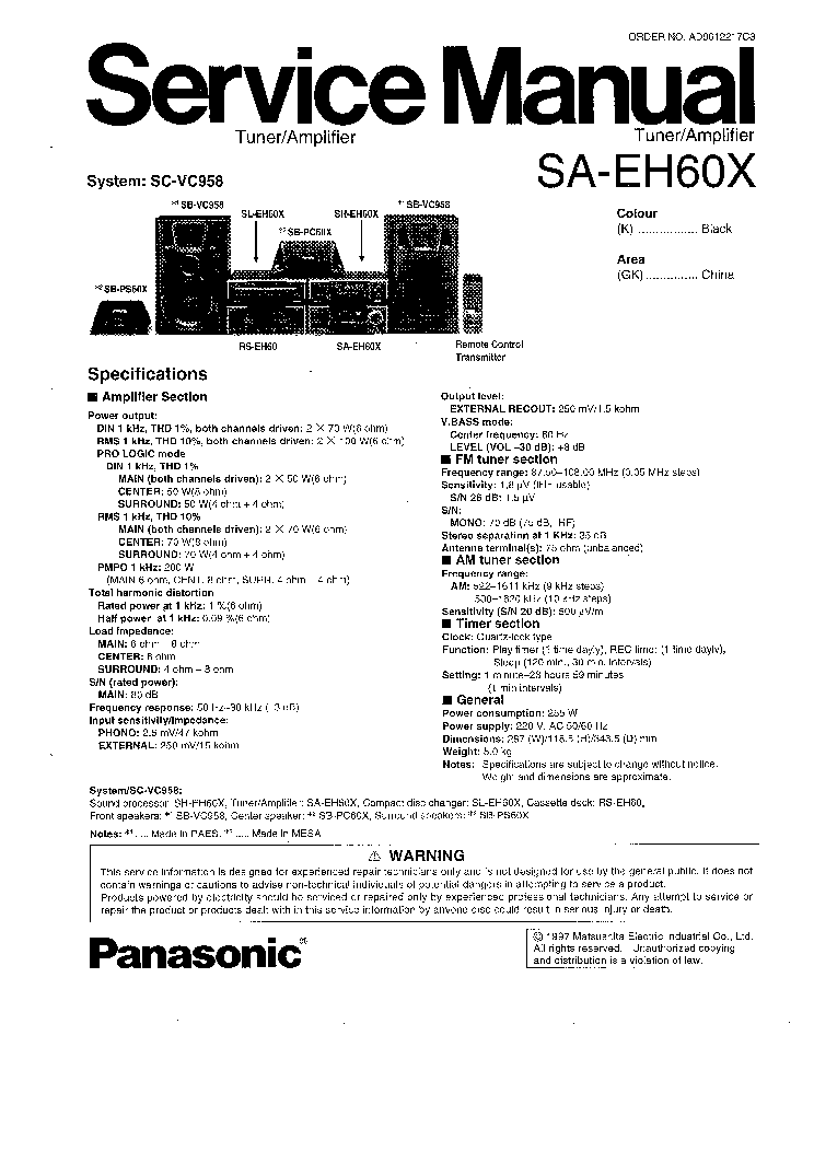 TECHNICS RS-B965 SM Service Manual free download