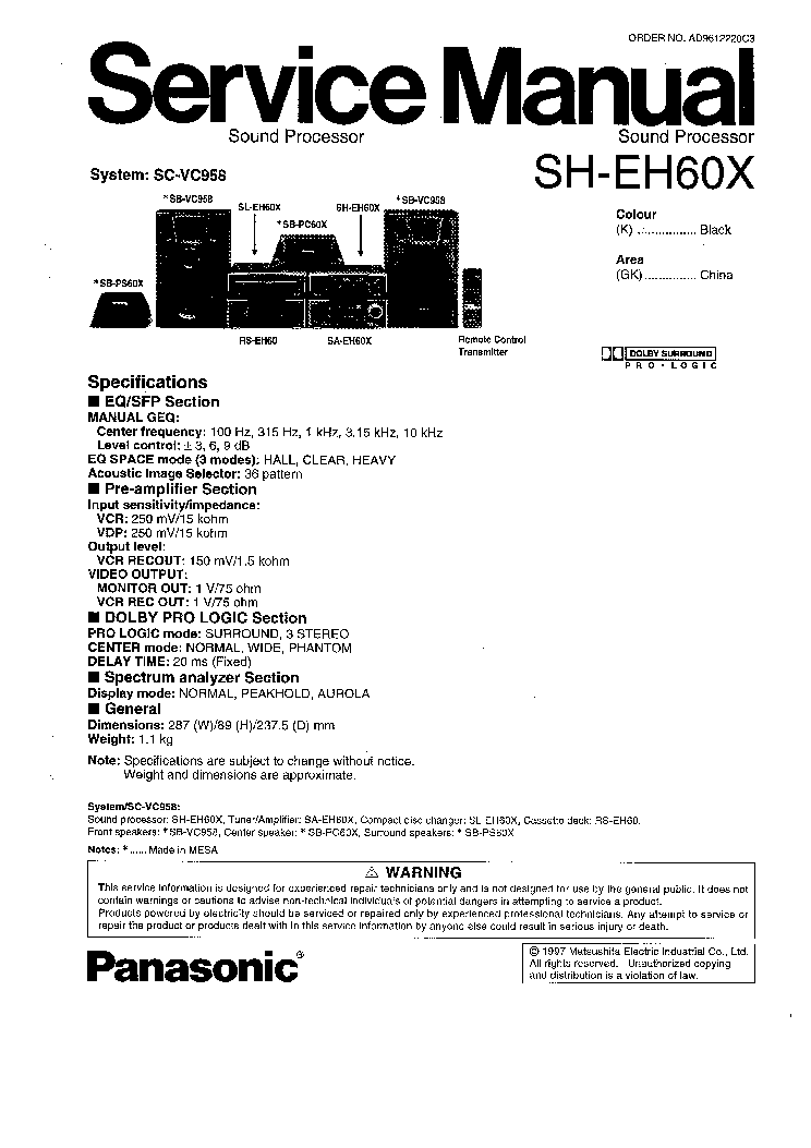TECHNICS PANASONIC SH-EH60X SM Service Manual download