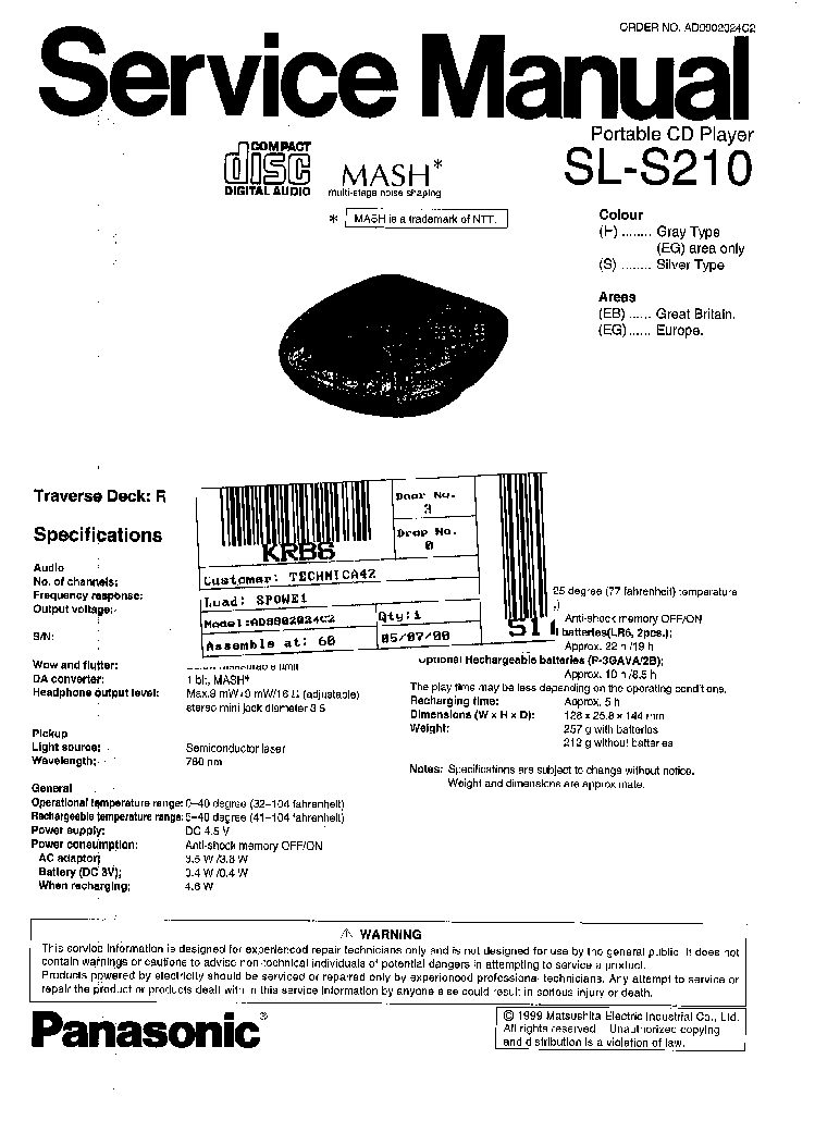 TECHNICS PORTABLE SL-S-210 Service Manual download