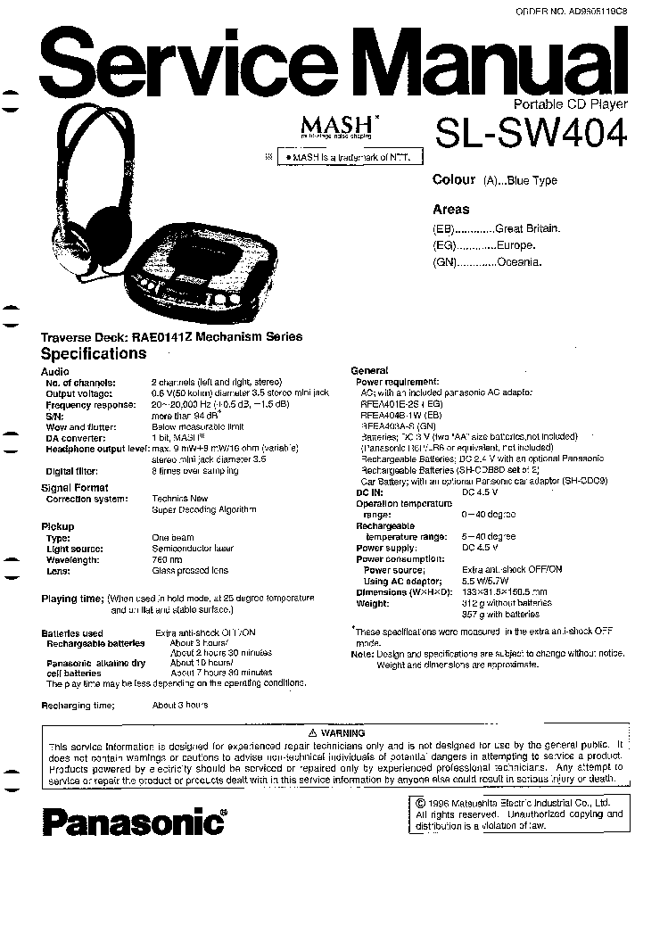 TECHNICS SUX101 SM Service Manual free download