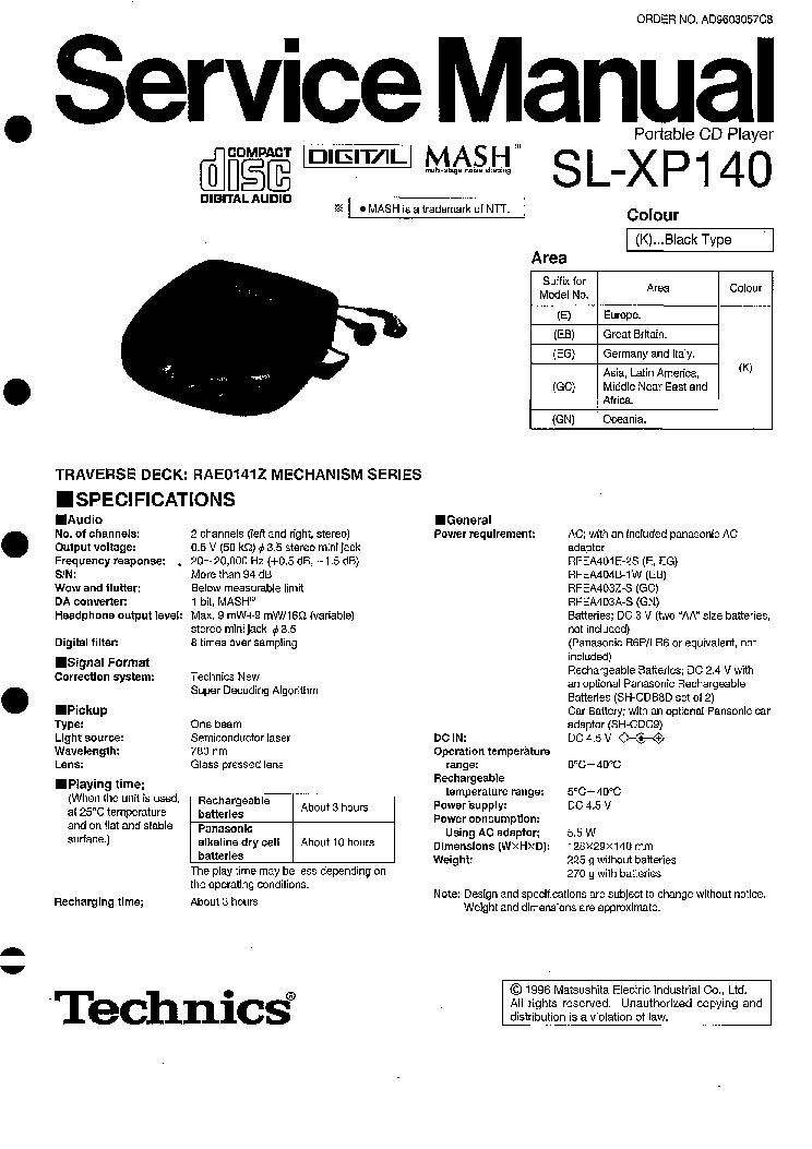 TECHNICS SA-GX100 Service Manual download, schematics