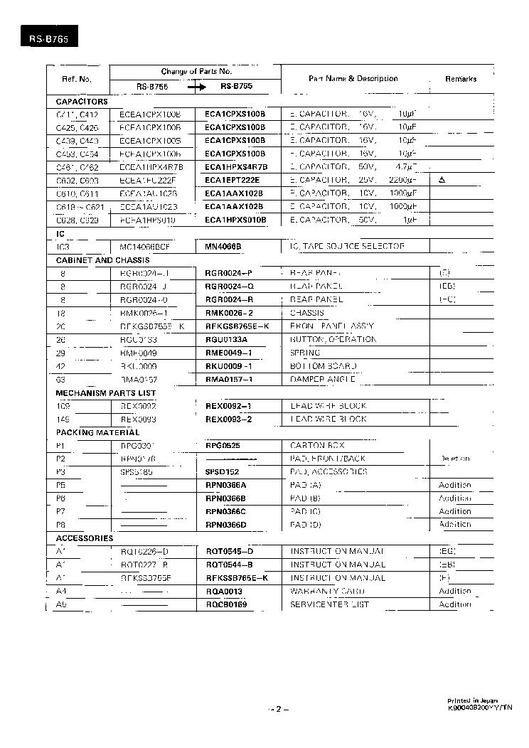 TECHNICS RS-B765 SM Service Manual download, schematics