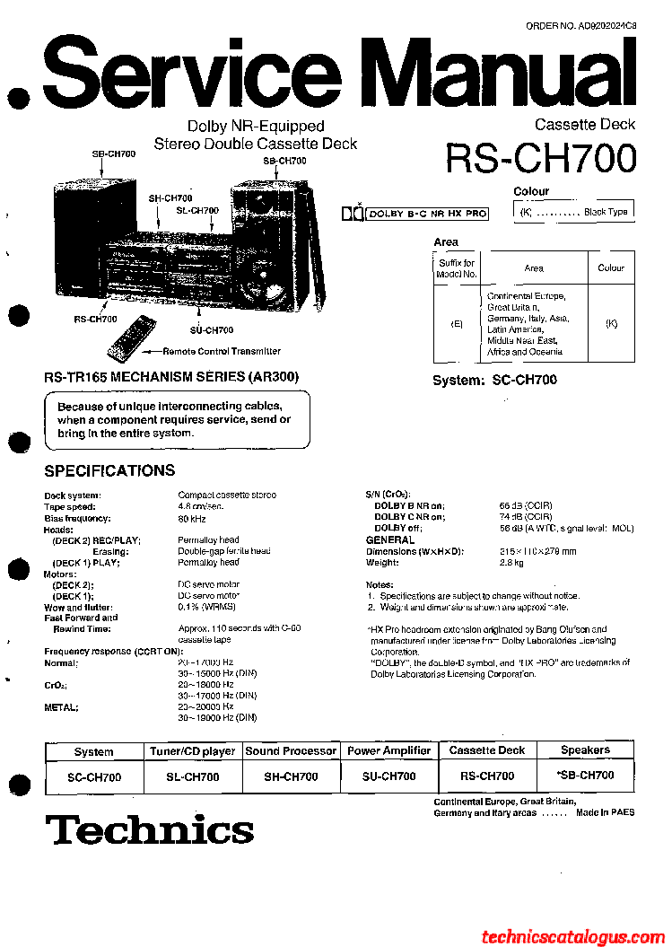 TECHNICS SA-DV250 Service Manual free download, schematics