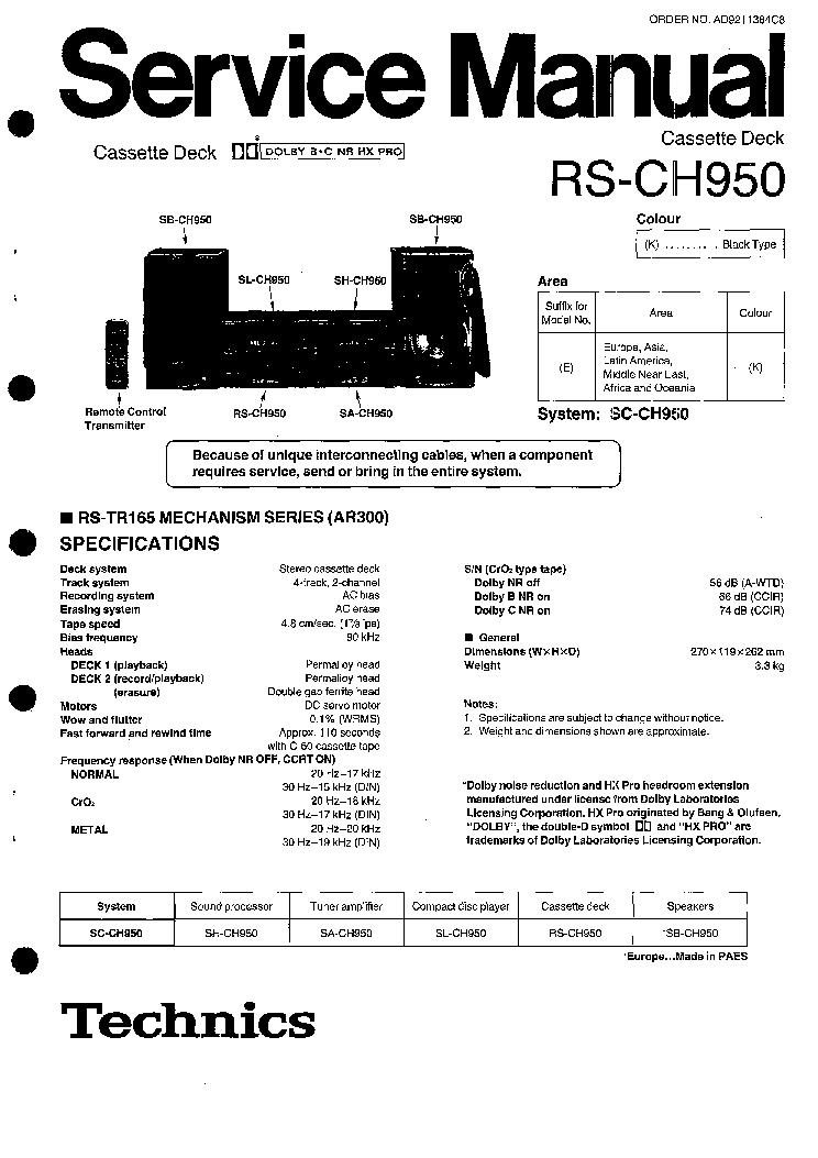 TECHNICS RS-CH950 Service Manual download, schematics