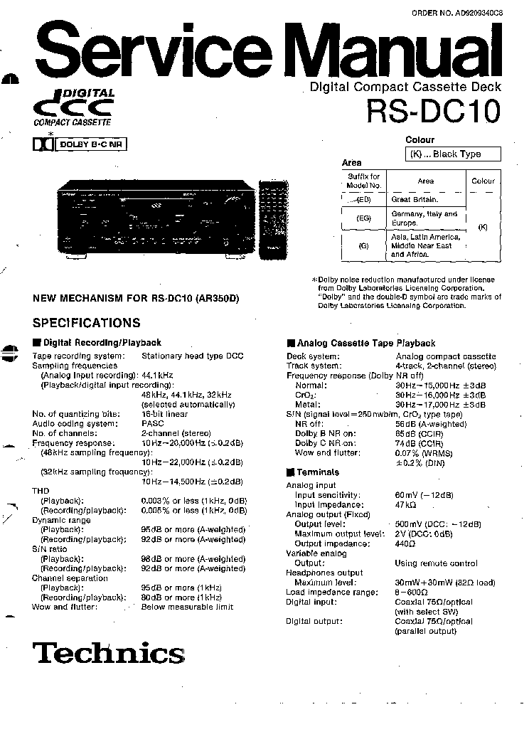 TECHNICS RS-DC10 SM Service Manual download, schematics
