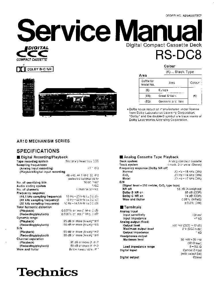 TECHNICS RS-DC8 Service Manual download, schematics