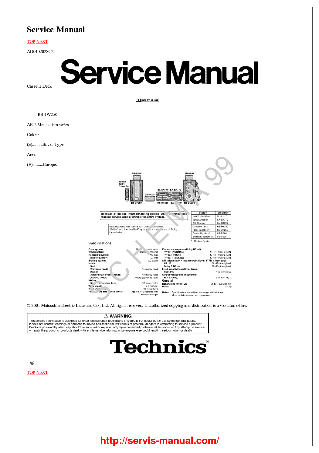 TECHNICS EROSITO SU-CH900 Service Manual free download