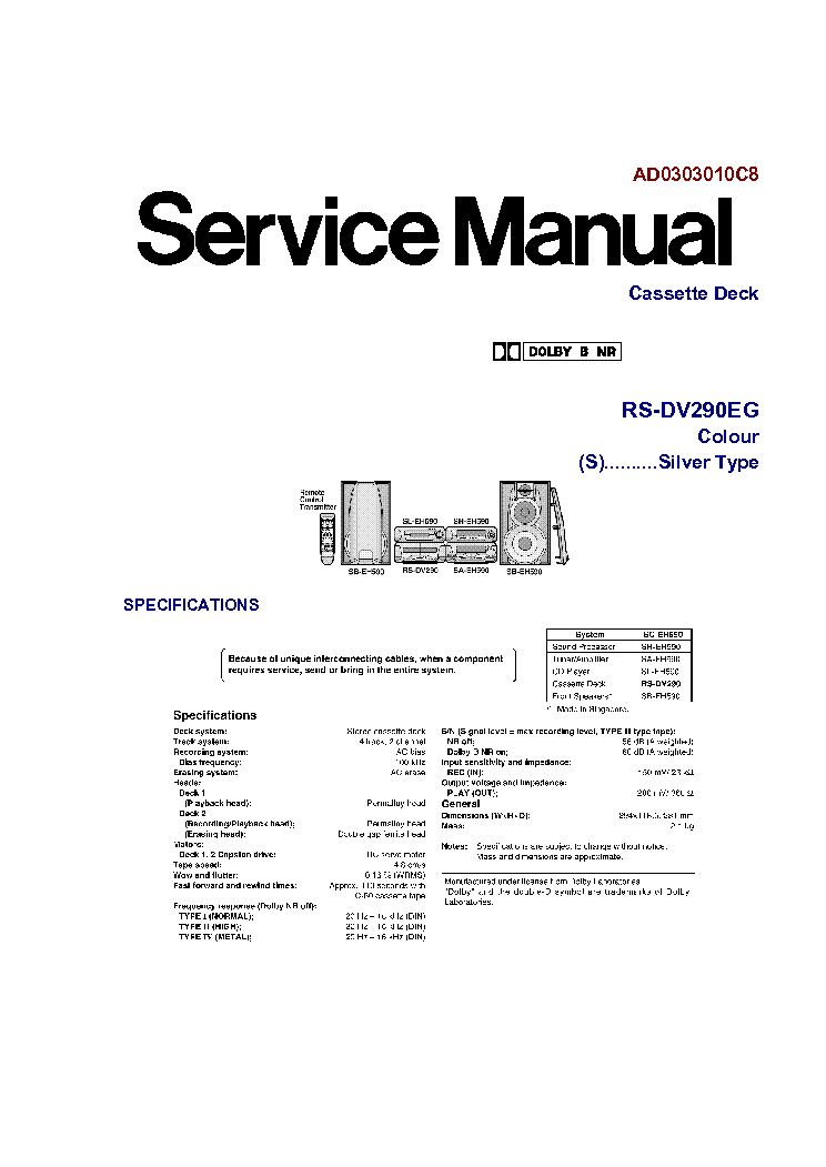 TECHNICS RS-DC8 Service Manual free download, schematics