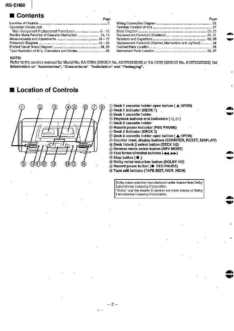 TECHNICS RS-EH60 Service Manual download, schematics