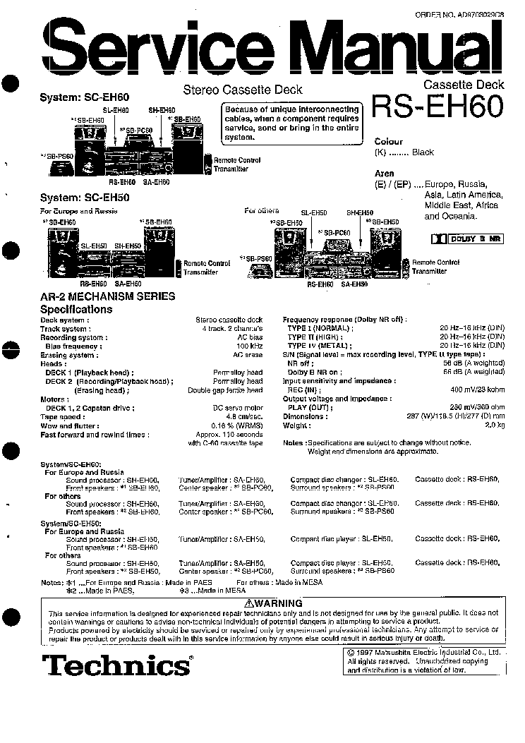 TECHNICS RS-EH60 SM Service Manual download, schematics