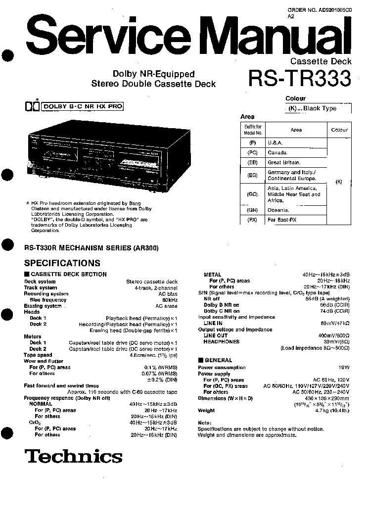TECHNICS RS-TR333 SM Service Manual download, schematics
