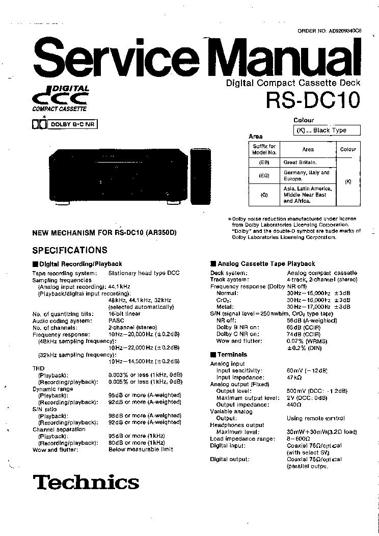TECHNICS RS-EH60 Service Manual download, schematics