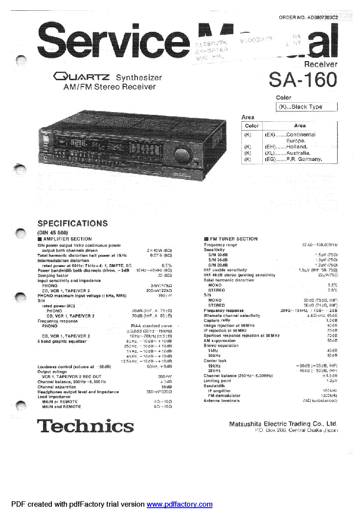 TECHNICS SA-160 Service Manual download, schematics