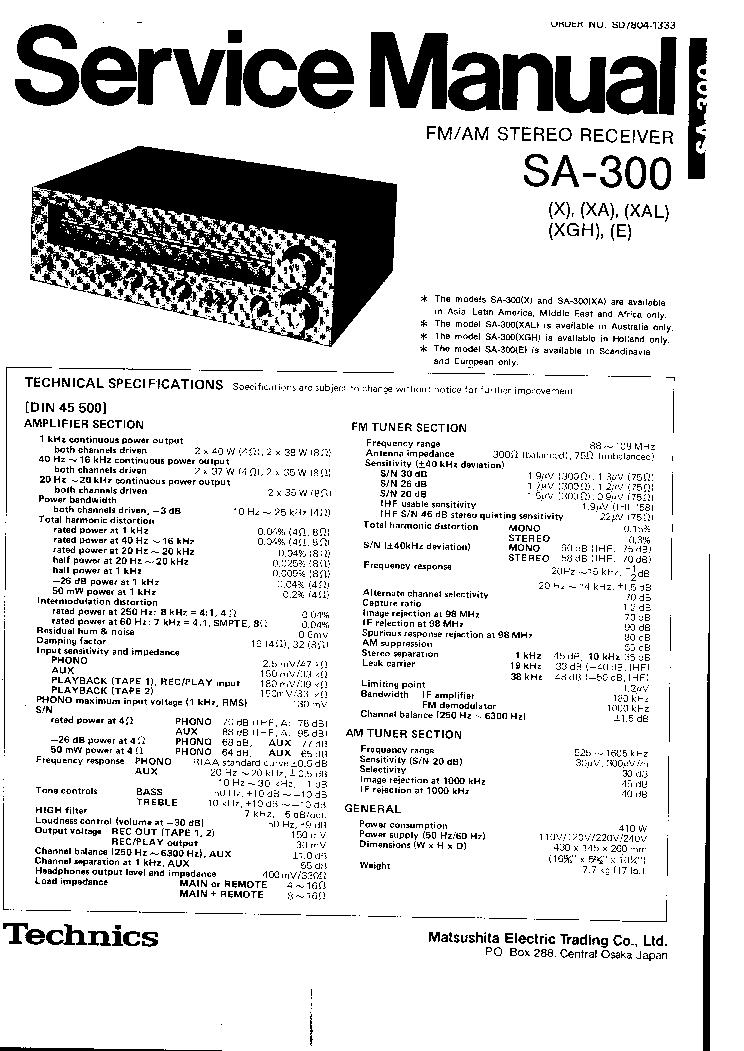 TECHNICS SA-300 Service Manual download, schematics