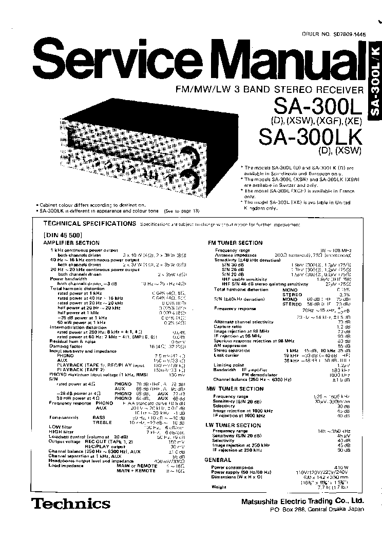 TECHNICS SL-1200-MK2 SM Service Manual free download