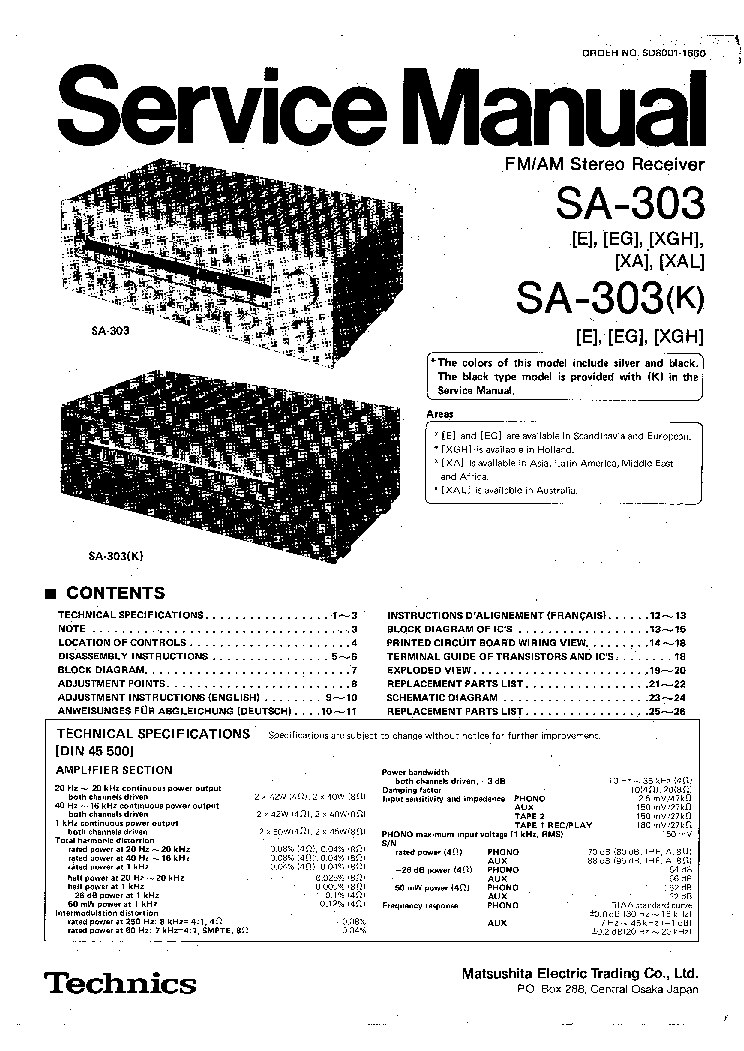 TECHNICS SA-303 K SM Service Manual download, schematics
