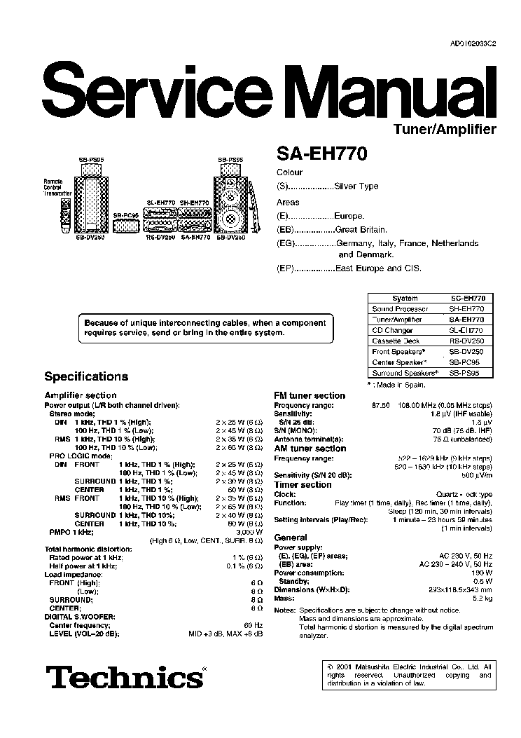 TECHNICS SA-EH770 Service Manual download, schematics