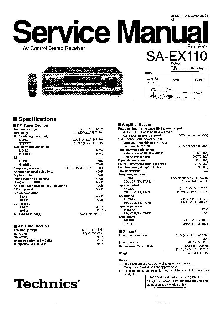 TECHNICS SA-EX110 P PC SM Service Manual download
