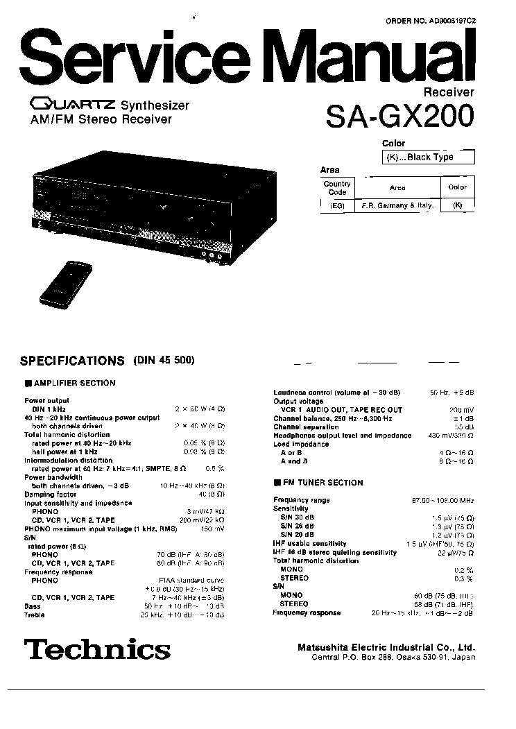 TECHNICS SA-GX200 RECEIVER Service Manual download