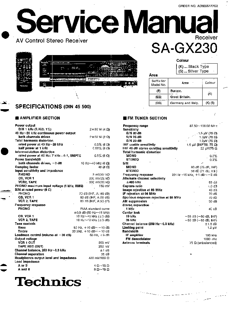 TECHNICS SA-GX230 SM Service Manual download, schematics