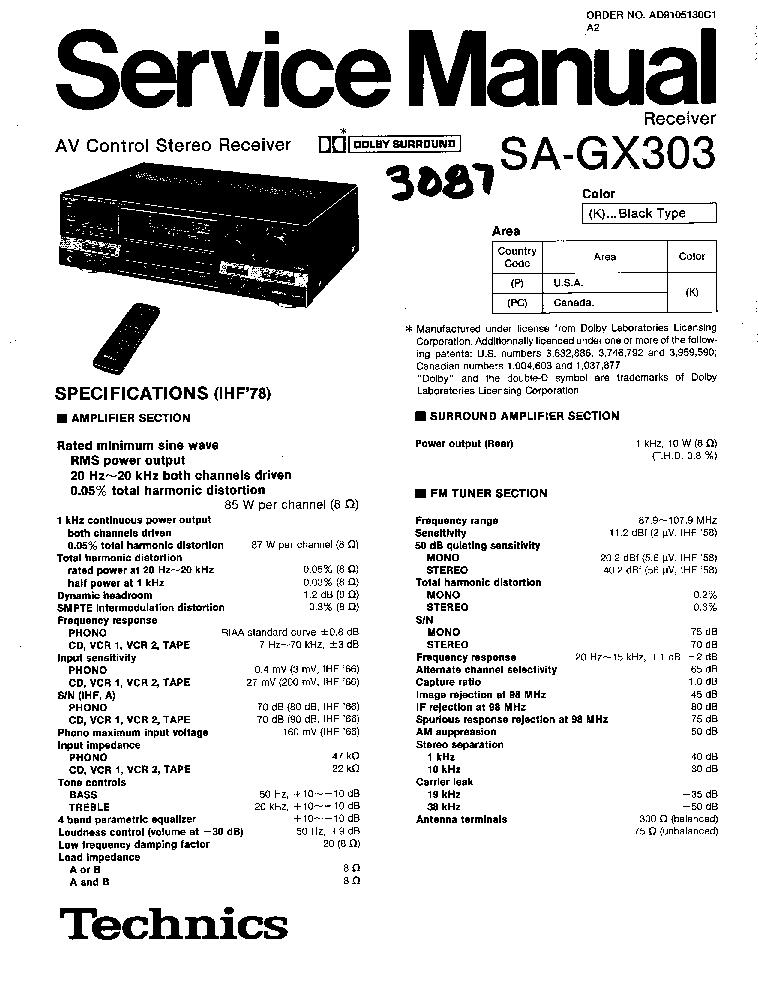 TECHNICS SA-GX303 SM Service Manual download, schematics