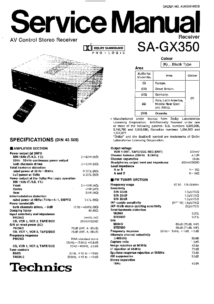 TECHNICS SA-GX 350 Service Manual download, schematics