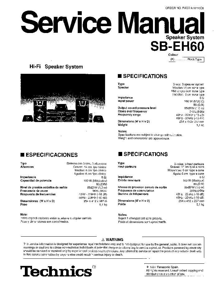 TECHNICS SB-EH60 SCH Service Manual download, schematics