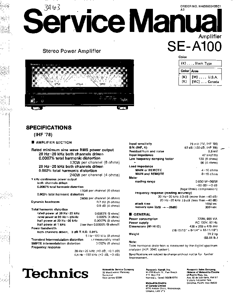 TECHNICS SE-A100 Service Manual download, schematics