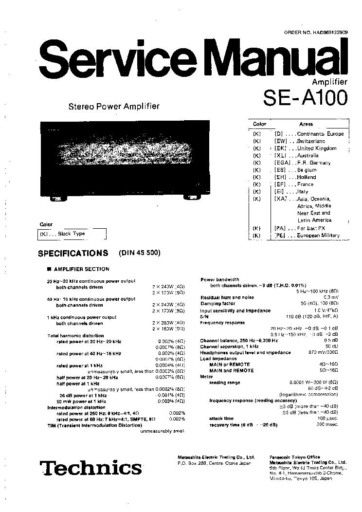 TECHNICS SE-A100 SM Service Manual download, schematics