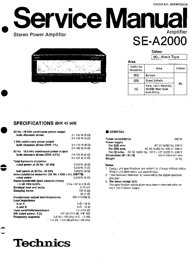 TECHNICS SE-A2000 SM 1 Service Manual download, schematics