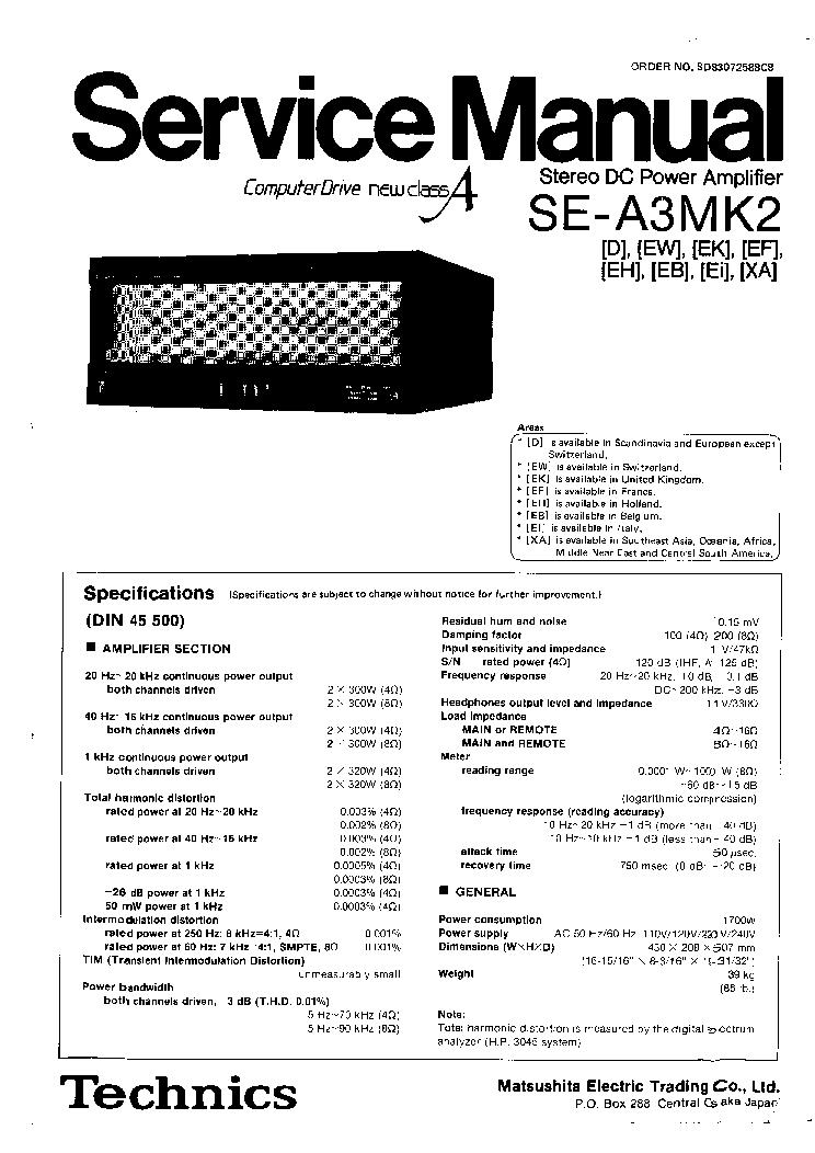 TECHNICS SE-A3MK2 SM Service Manual download, schematics