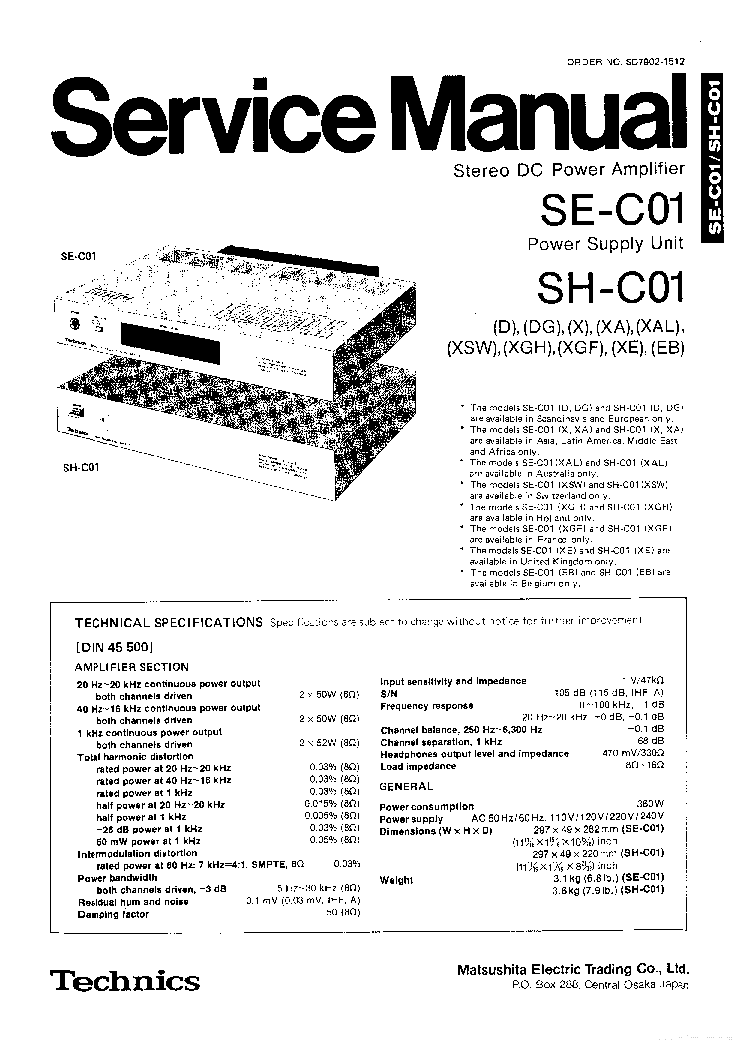 TECHNICS SL-EH750 Service Manual download, schematics