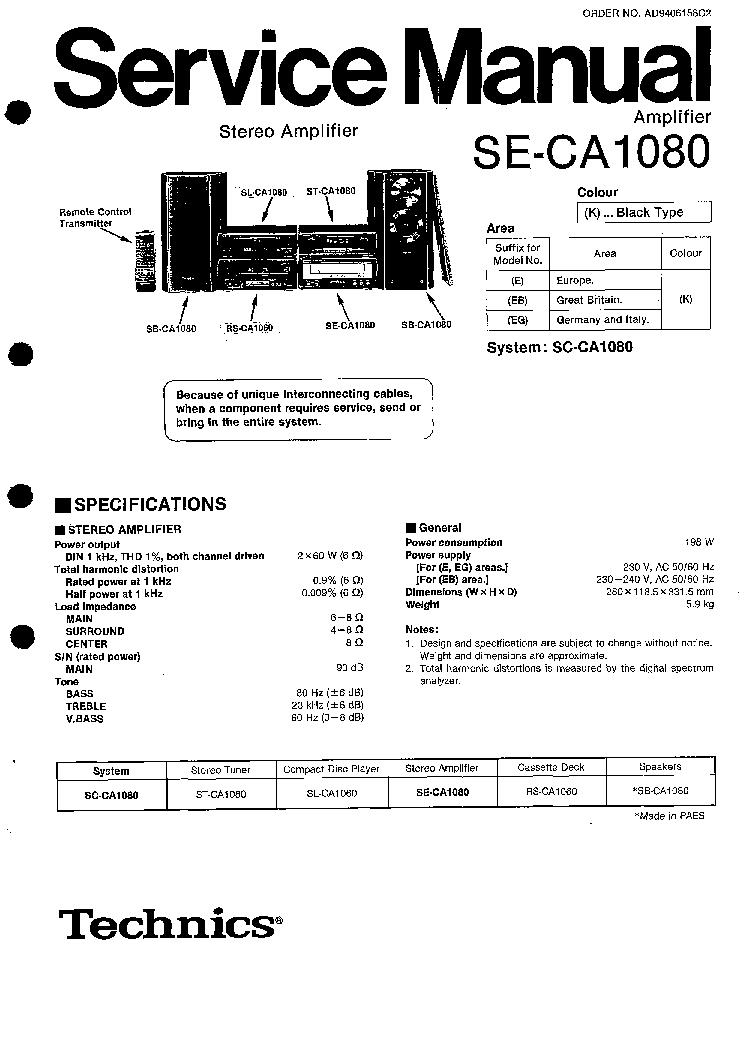 TECHNICS SU-7100 710K SCH Service Manual download