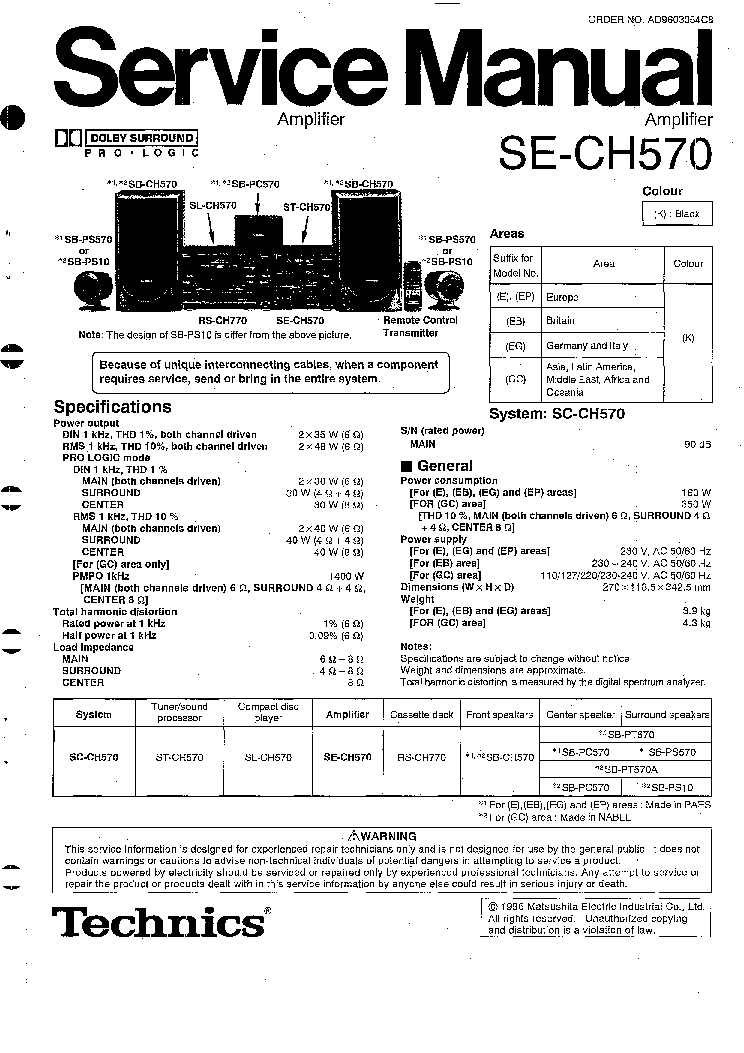 TECHNICS SU-A6 SM Service Manual free download, schematics