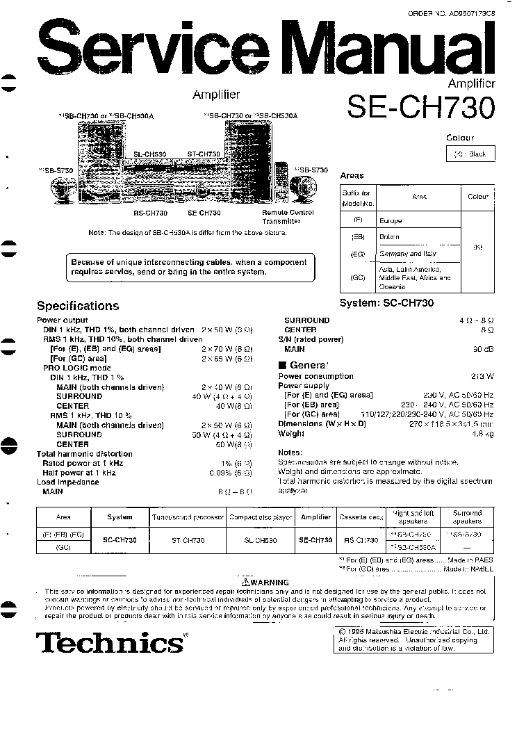 TECHNICS SU-7700K Service Manual download, schematics