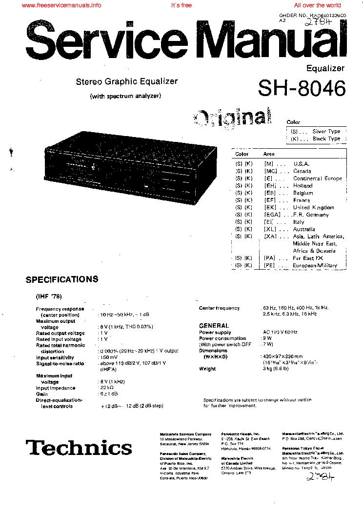TECHNICS SH-8046 SM Service Manual download, schematics