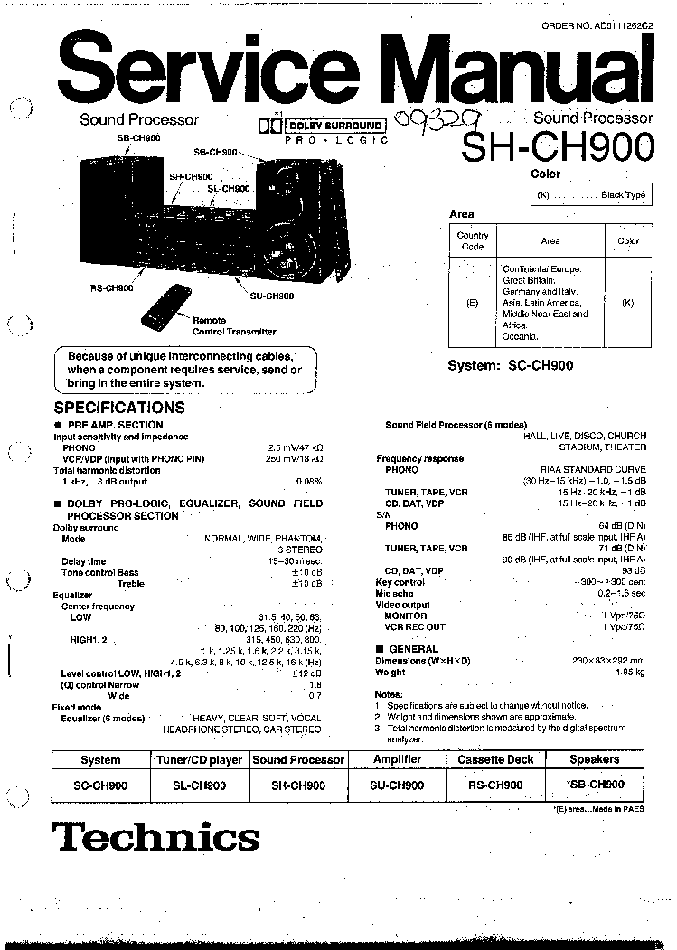 TECHNICS SH-CH900 Service Manual download, schematics