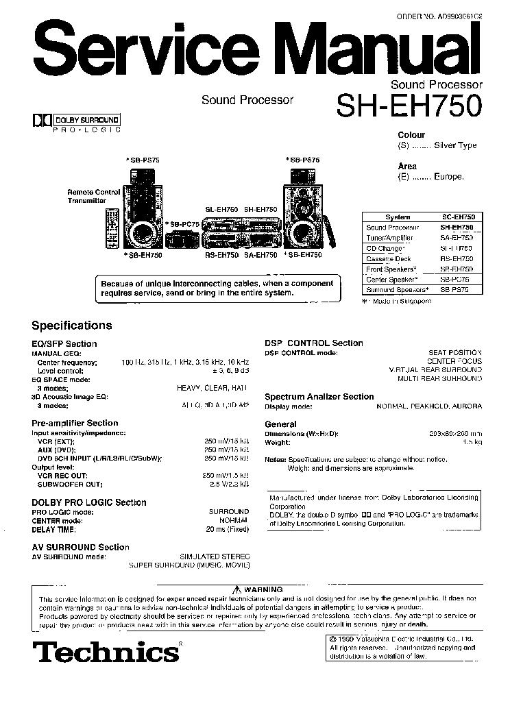 TECHNICS SH-EH750 Service Manual download, schematics