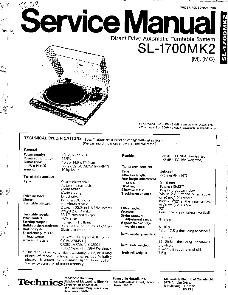 TECHNICS SL-EH760 Service Manual download, schematics