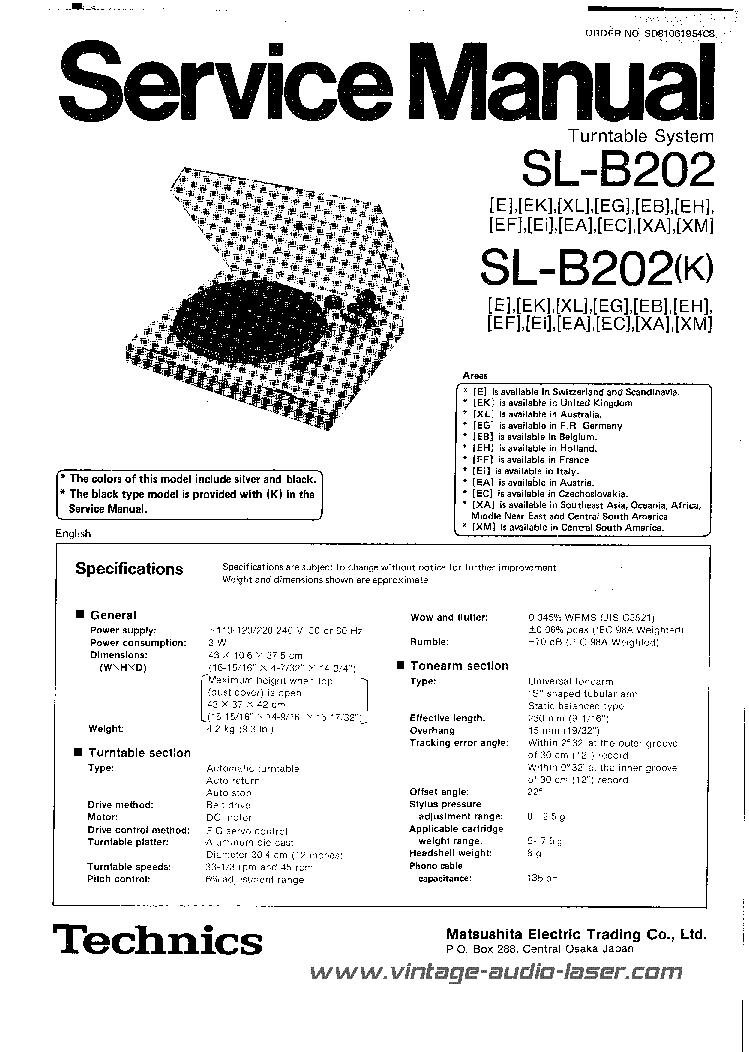 TECHNICS SL-B202 Service Manual download, schematics